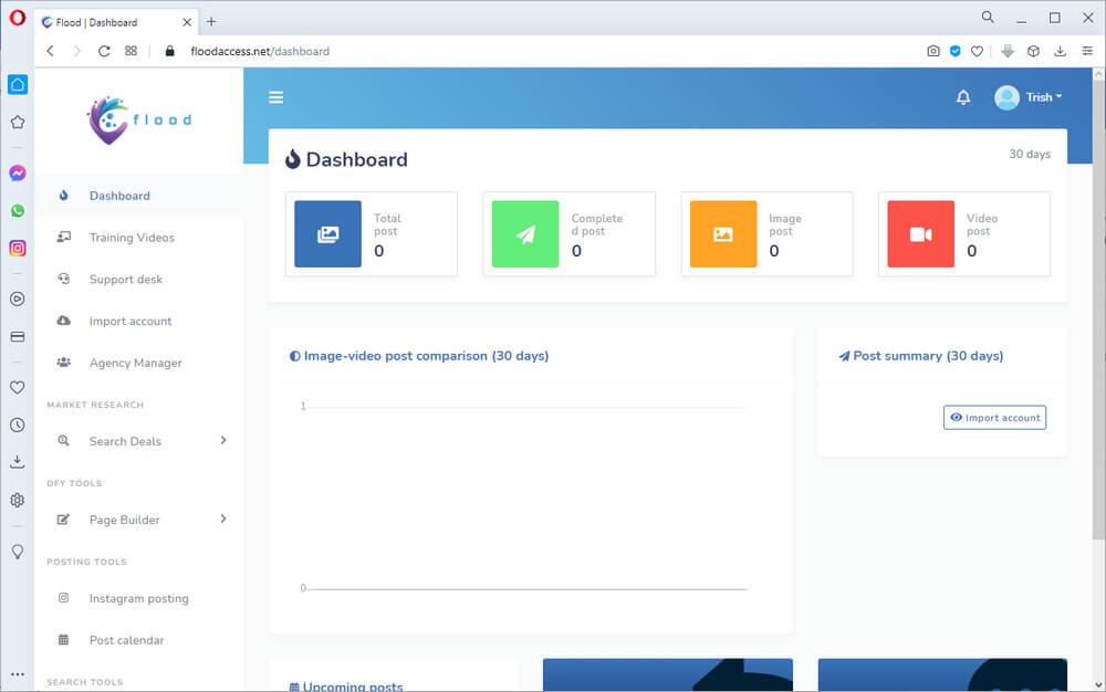 screen print of Flood dashboard