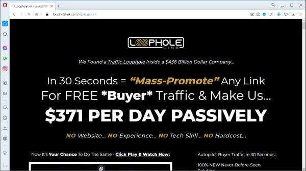 screen print of vendor's landing page