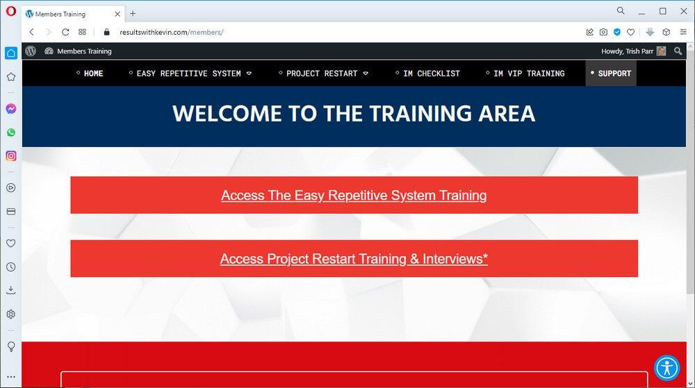 screen print of vendor's members web page
